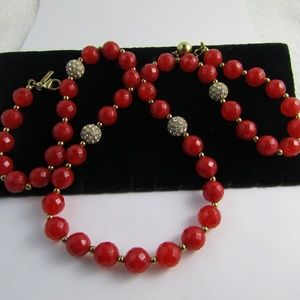 Kate Spade Red Lucite Rhinestone Beaded Necklace